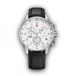 Muški Swiss Military Chrono Quartz Chronograph Beli Srebrni Sportsko Elegantni Ručni Sat Crnim Kožnim Kaišem