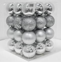 Novogodišnji set ukrasnih kuglica 36kom - Srebrni ( 19003 )