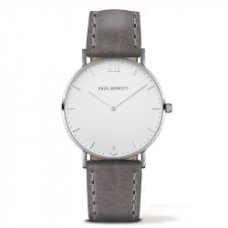 Paul Hewitt Sailor Line Beli Srebrni ručni sat sa sivim kožnim kaišem