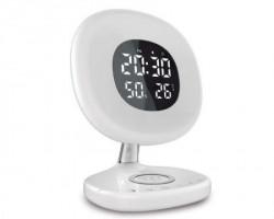 Promate AuraRise digitalni alarm sa LED svetlom i wireless punjačem beli