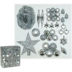Set kuglica,vrh,girlanda,srebr ( 51-971000 )