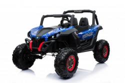Terenac 4x4 Džip dvosed na akumulator sa kožnim sedištima i mekim gumama - Plavi
