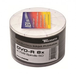 Traxdata DVD-R 8x 4.7 GB PRN F SP50 HQ Full Printable 50 komada spindle beli ( 0234393 )