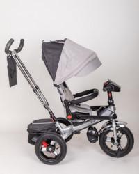 Tricikl za decu model T04 Sa rotirajućim sedištem i podesivim naslononom - gume na pumpanje - Sivi
