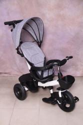 Tricikl za decu T06 sa podesivim naslononom - Sivi