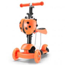 Trotinet Bubamara 5u1 za decu sa sedištem i svetlećim točkovima Model 652 - Narandžasti