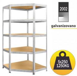 Ugaona Polica metal-medijapan 180x90x90x45cm 5x250kg ( 2002 )