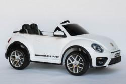 VW Buba Licencirani Auto sa kožnim sedištem i ojačanim PVC točkovima - Bela ( VW Buba-1 )