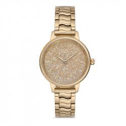 Ženski Bigotti zlatni elegantni ručni sat sa zlatnim metalnim kaišem