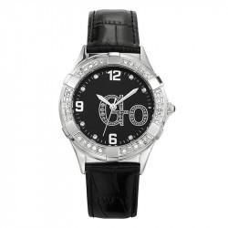 Ženski Girl Only Go Cristaux Crni Modni ručni sat sa crnim kožnim kaišem