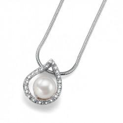 Ženski Oliver Weber Always RhodiumCrystal Lančić sa belim swarowski perla priveskom