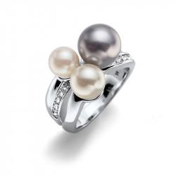 Ženski Oliver Weber Basic Pearl Crystal prsten sa sivom swarovski perlom L