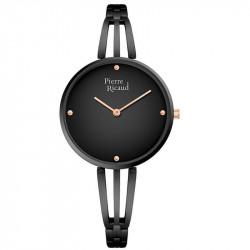 Ženski Pierre Ricaud Quartz Crni Modni Ručni Sat Sa Crnim Metalnim Kaišem