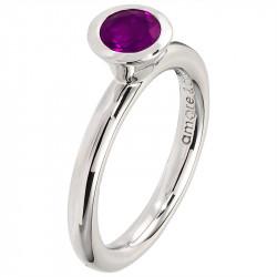 Amore Baci srebrni prsten sa jednim okruglim Ljubičastim swarovski kristalom 53 mm