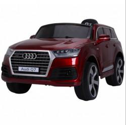 Audi Q7 Licencirani Model 213/1 Džip na akumulator sa kožnim sedištem i mekim gumama - Metalik Crveni