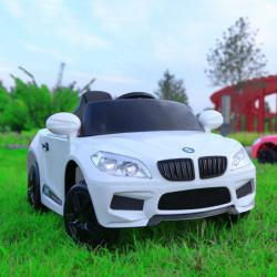 Auto na akumulator model 243 sa daljinskim upravljanjem i kožnim sedištem - Beli