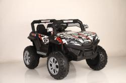 Bagi 1 na akumulator 4x4 sa kožnim sedištima i mekim gumama + mod za ljuljanje - Crno/beli