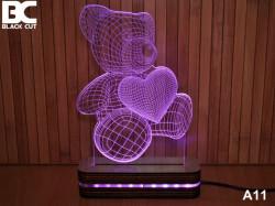 Black Cut 3D Lampa jednobojna - Meda ( A11 )