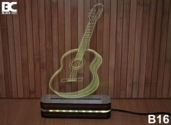 Black Cut 3D Lampa sa 9 različitih boja i daljinskim upravljačem - Gitara ( B16 )