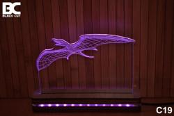 Black Cut 3D Lampa sa 9 različitih boja i daljinskim upravljačem - Pterosaurus ( C19 )