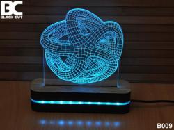 Black Cut 3D Lampa sa 9 različitih boja i daljinskim upravljačem - Zvezda ( B009 )