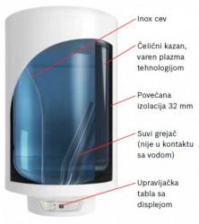 Bosch Električni bojler, suvi grejač 2 kW, mag. anoda (5 ), sig. I radni termo. 80L, vert. ili horiz mont. ( 7736503473 )
