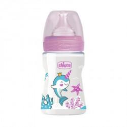 Chicco WB plastična flašica 150ml, silikon, roze ( A048498 )