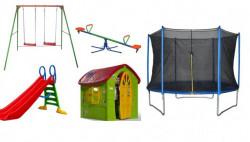 Dečiji komplet za dvorište ( Playground 1C ) Trambolina + Ljuljaška + Kućica + Tobogan + Klackalica
