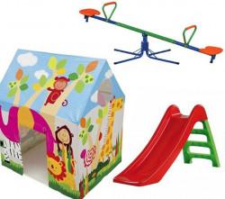 Dečiji komplet za dvorište ( SET 4 ) Šator + Tobogan + Klackalica