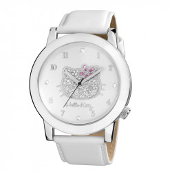Dečji Hello Kitty Roze Beli ručni sat sa belim kožnim kaišem