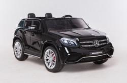 Mercedes GLS 63 AMG Licencirani Dvosed za decu na akumulator sa kožnim sedištima i mekim gumama - Crni