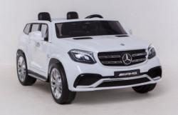 Mercedes GLS 63 AMG Licencirani Dvosed za decu na akumulator sa kožnim sedištima i mekim gumama - Beli