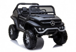 Mercedes Unimog 4x4 - Crni Licencirani Dvosed na akumulator sa kožnim sedištima i mekim gumama