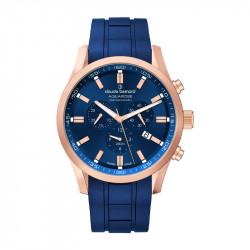 Muški Claude Bernard Aquarider Chronograph Plavi Roze Zlatni Elegantno Sportski Ručni Sat Sa Plavim Gumenim Kaišem