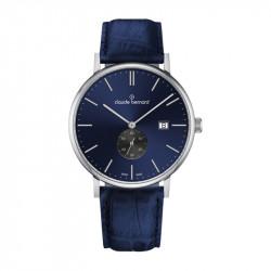 Muški Claude Bernard Classic Slim Line Small Seconds Plavi Srebrni Elegantni Ručni Sat Sa Teget Kožnim Kaišem