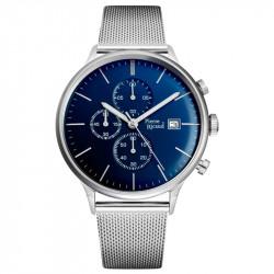 Muški Pierre Ricaud Chronograph Plavi Srebrni Elegantni Ručni Sat Sa Srebrnim Pancir Kaišem