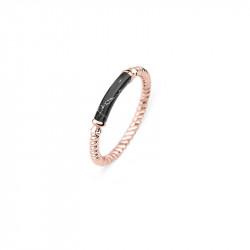 Paul Hewitt Rope Starboard Black Marble Roze Zlatni Prsten Od Hirurškog Čelika 52