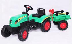Traktor 01 na pedale sa prikolicom + lopatica i grabulja - Zeleni