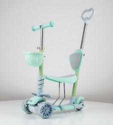Trotinet Soft Model 653-1 za decu sa sedištem i svetlećim točkovima - Zeleni