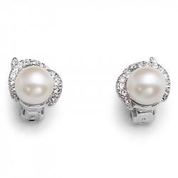 Ženske Oliver Weber Place Clip Crystal Clip mindjuše sa belim swarowski perlama