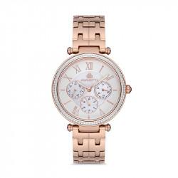 Ženski Bigotti multifunction beli roze zlatni elegantni ručni sat sa roze zlatnim metalnim kaišem
