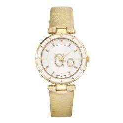 Ženski Girl Only Go Zlatni Modni Beli ručni sat sa zlatnim kožnim kaišem