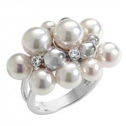 Ženski Majorica srebrni biserni prsten