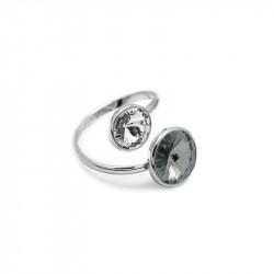 Ženski Victoria Cruz Basic Double Black Diamond Prsten Sa Swarovski Crnim Kristalom
