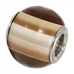 Amore Baci Čokolada srebrni privezak od murano stakla za narukvicu