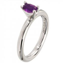 Amore Baci srebrni prsten sa jednim ljubičastim swarovski kristalom 53 mm