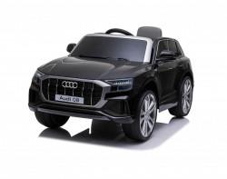 Audi Q8 Model 260 - Crni Licencirani auto na akumulator sa kožnim sedištem i mekim gumama