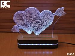 Black Cut 3D Lampa sa 9 različitih boja i daljinskim upravljačem - Srca i strela ( B002 )