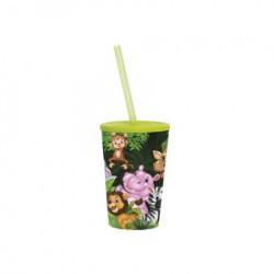 Čaša sa cevčicom 340 CC GREEN ANIMALS ( 48/06399 )