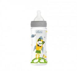 Chicco WB plastična flašica 330ml, silikon, siva ( A048492 )
